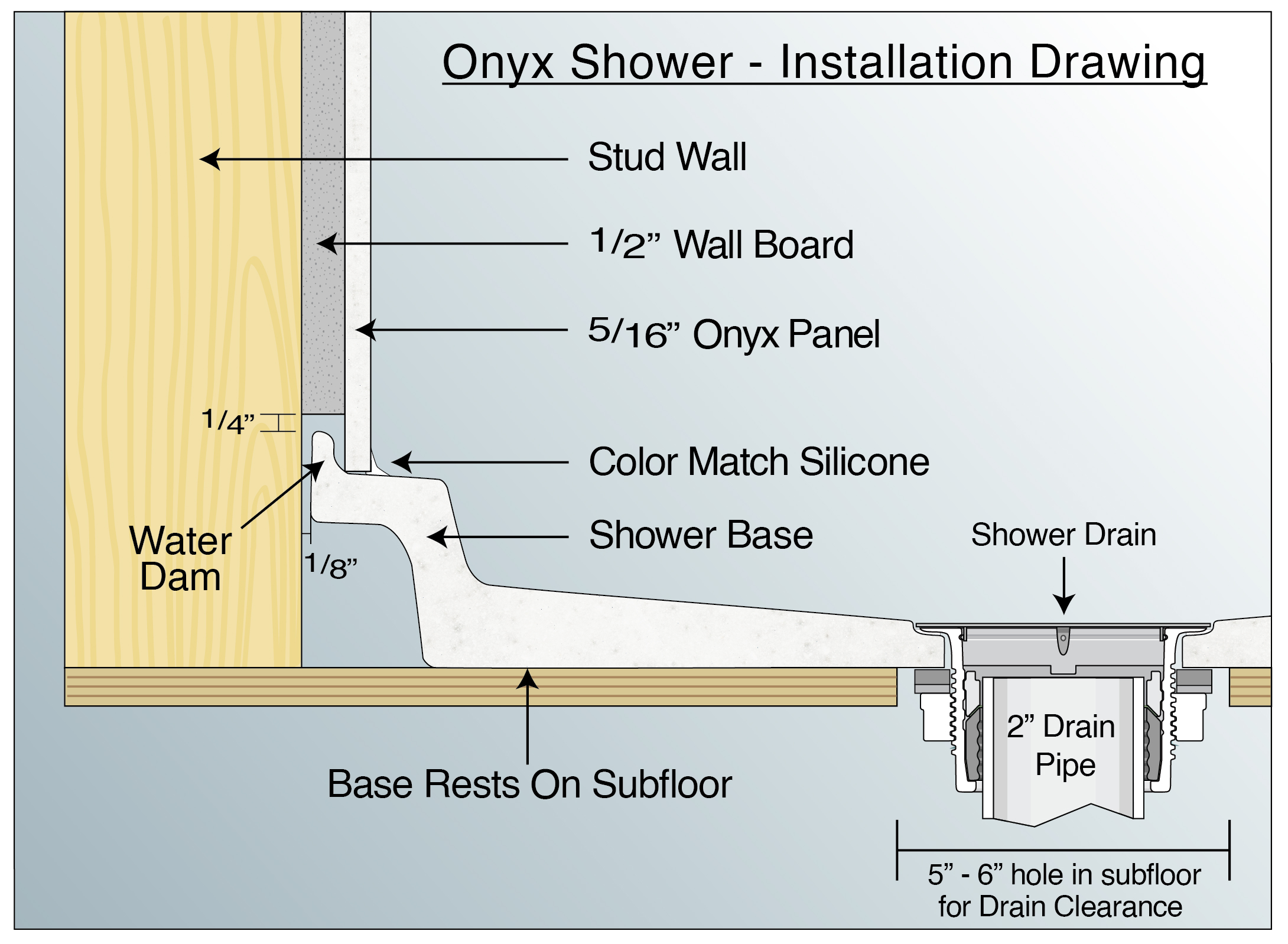 onyx collection shower diagram